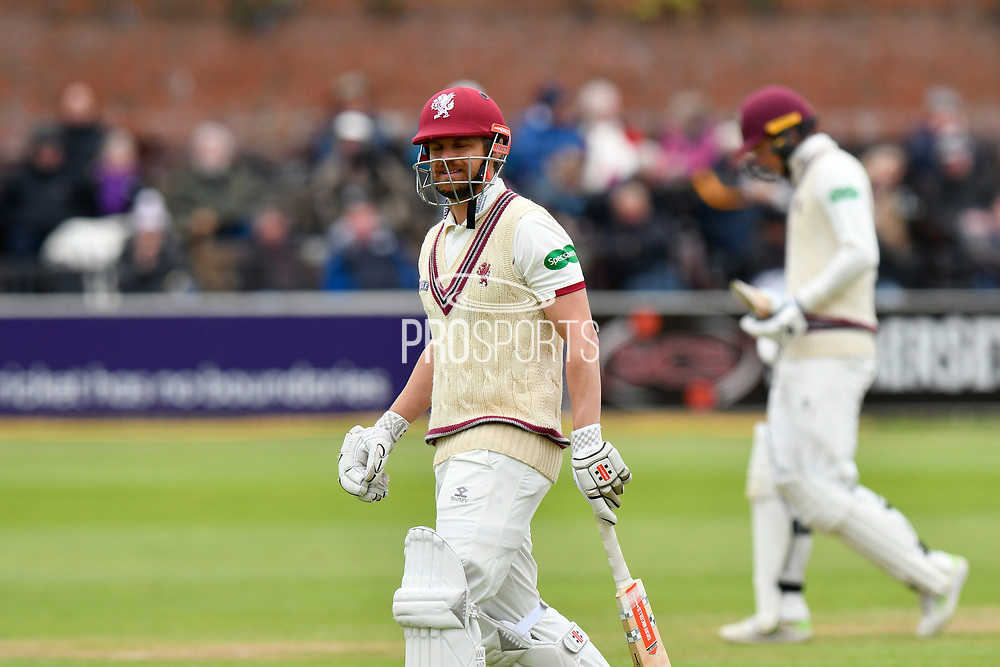 Wicket - James Hildreth of Somerset  walks back to the pavilion after being dismissed by Jack Brooks of Yorkshire during the third day of the Specsavers County Champ Div 1 match between Somerset County Cricket Club and Yorkshire County Cricket Club at the Cooper Associates County Ground, Taunton, United Kingdom on 29 April 2018. Picture by Graham Hunt.