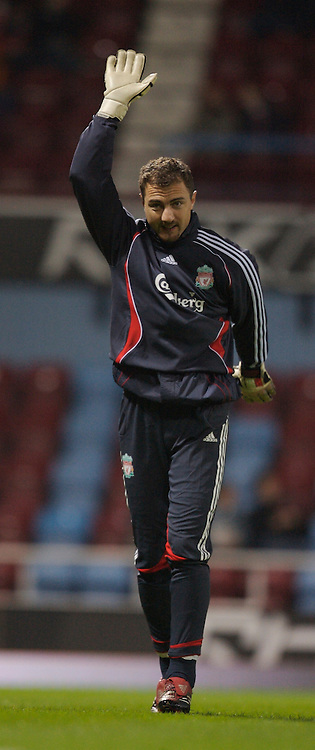 London, England - Tuesday, January 30, 2007: Liverpool's goalkeeper Jerzy Dudek warm-up before the Premiership match against West Ham United at Upton Park. (Pic by David Rawcliffe/Propaganda)