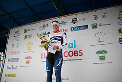 Lotta Lepistö (FIN) of Cervélo-Bigla Cycling Team celebrates her win of the first, 106.9km road race stage of Elsy Jacobs - a stage race in Luxembourg, in Steinfort on April 30, 2016 stands on the podium of the first, 106.9km road race stage of Elsy Jacobs - a stage race in Luxembourg, in Steinfort on April 30, 2016