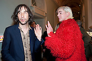 BOBBY GILLESPIE; JAMES JEANETTE, Dazed & Confused 20th Anniversary Exhibition. Somerset House. London. 3 November 2011<br /> <br />  , -DO NOT ARCHIVE-© Copyright Photograph by Dafydd Jones. 248 Clapham Rd. London SW9 0PZ. Tel 0207 820 0771. www.dafjones.com.