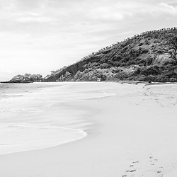 Makena Big Beach Maui Hawaii black and white panoramic photo. Big Beach is in Wailea-Makena Kihei Hawaii and is one of Maui's most popular beaches. Panorama photo ratio is 1:3. Copyright ⓒ 2019 Paul Velgos with All Rights Reserved.