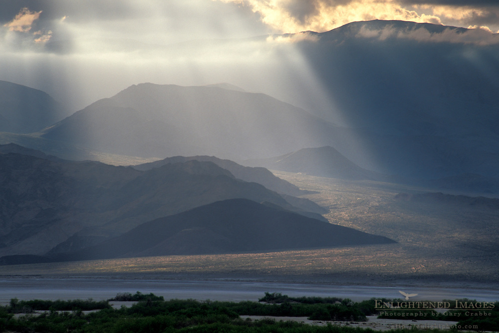 Sunlight and storm clouds on Panamint Mountains, Death Valley National Park, California