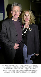 MR & MRS ROBERT LACEY, he is the royal biographer, at a reception in London on 13th June 2001.OPG 94