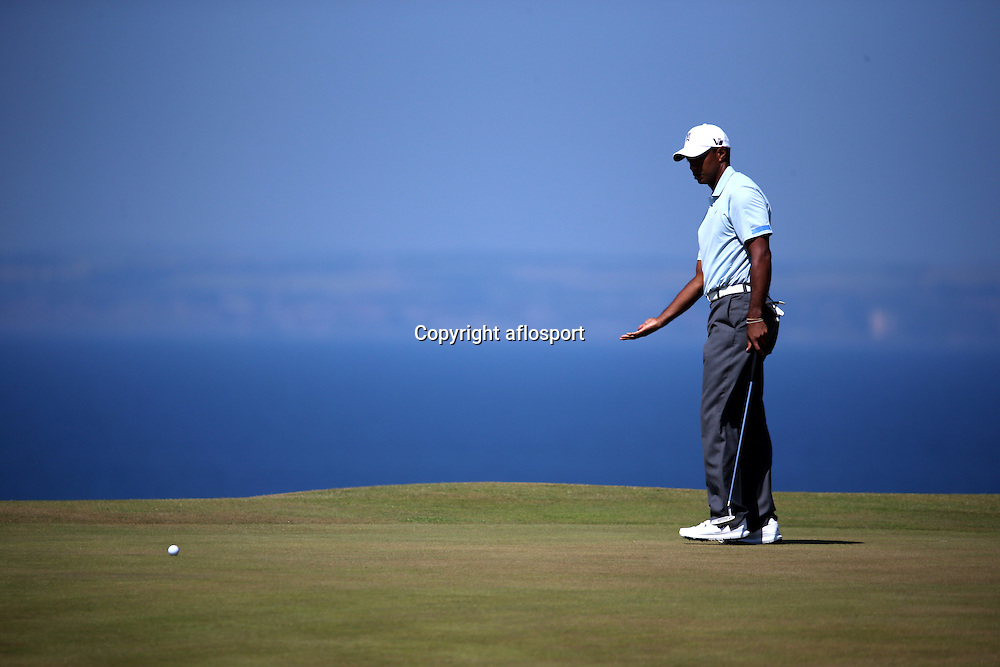 Tiger Woods (USA), <br /> JULY 19, 2013 - Golf :<br /> Tiger Woods of the United States in action on 11th hole during the second round of the <br /> 142nd British Open Championship at Muirfield in Gullane, East Lothian, Scotland.<br /> (Photo by Koji Aoki/AFLO SPORT) [0008]