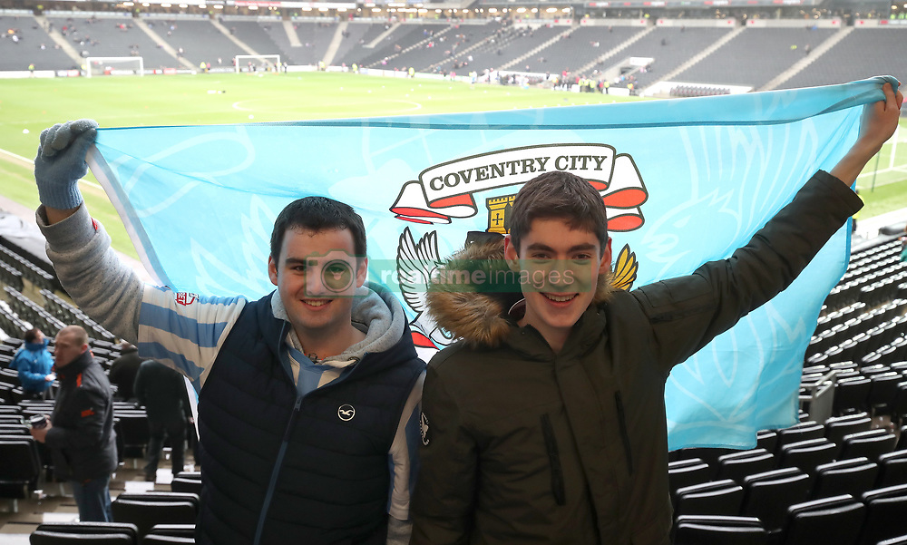 Coventry City fans Ross Newton and Luke Layburn await the kick off at Stadium MK for their teams FA Cup Fourth Round match against MK Dons