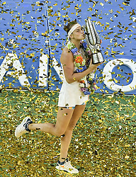 WUHAN, Sept. 29, 2018  Aryna Sabalenka of Belarus poses during the trophy ceremony after winning the singles final match against Anett Kontaveit of Estonia at the 2018 WTA Wuhan Open tennis tournament in Wuhan, central China's Hubei Province, on Sept. 29, 2018. Aryna Sabalenka won 2-0 and claimed the title. (Credit Image: © Xue Yubin/Xinhua via ZUMA Wire)