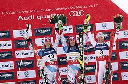 10.02.2017, St. Moritz, SUI, FIS Weltmeisterschaften Ski Alpin, St. Moritz 2017, alpine Kombination, Damen, Flower Zeremonie, im Bild v.l. Michelle Gisin (SUI, Silbermedaille Alpine Kombination der Damen), Wendy Holdener (SUI, Weltmeister und Goldmedaille Alpine Kombination der Damen), Michaela Kirchgasser (AUT, Bronzemedaille Alpine Kombination der Damen) // f.l. ladie's Alpin Combined Silver medalist Michelle Gisin of Switzerland, ladie's Alpin Combined Goldmedalist and World Champion Wendy Holdener of Switzerland, ladie's Alpin Combined bronze medalist Michaela Kirchgasser of Austria during the Flowers ceremony for the ladie's Alpine combination of the FIS Ski World Championships 2017. St. Moritz, Switzerland on 2017/02/10. EXPA Pictures © 2017, PhotoCredit: EXPA/ SM<br /> <br /> *****ATTENTION - OUT of GER*****