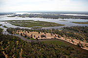 Aerial view over the Lower Zambezi National park and Zambezi river..Lower Zambezi National Park, Zambia, Africa..