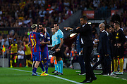 Arda Duran replaces Leo Messi during the La Liga match between Barcelona and Atletico Madrid at Camp Nou, Barcelona, Spain on 21 September 2016. Photo by Eric Alonso.