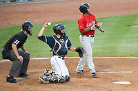 Catching for the New Hampshire Fisher CatsTravis D'Arnaud during Saturday night's game with the Portland Sea Dogs.  (Karen Bobotas/for the Concord Monitor)