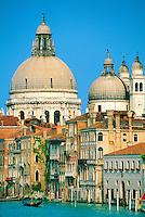 Gondola on the Grand Canal (Chiesa della Salute in background), Venice, Italy