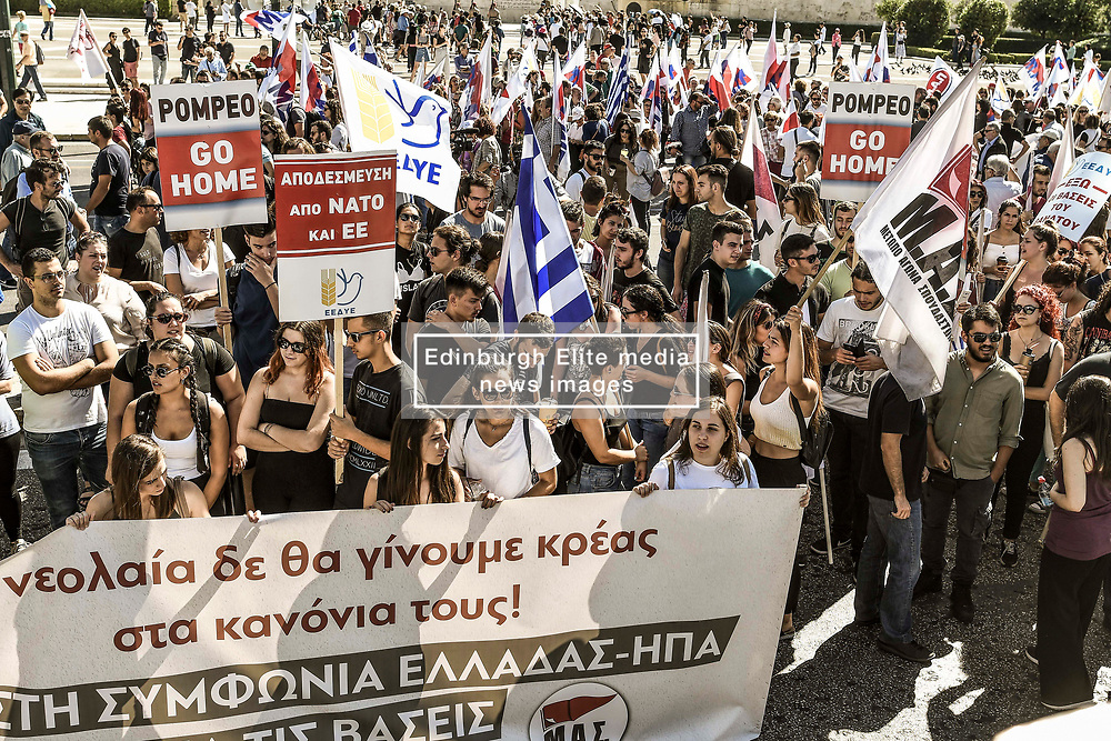 Communist-affiliated protesters hold placards as they take part in a demonstration to protest against the visit of US Secretary of State Mike Pompeo in Athens on October 5, 2019.<br /> <br /> Pictured: <br /> Dimitris Lampropoulos    EEm date