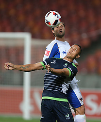 Marc van Heerden of Chippa United and Henrico Botes of Platinum Stars during the 2016 Premier Soccer League match between Chippa United and Platinum Stars held at the Nelson Mandela Bay Stadium in Port Elizabeth, South Africa on the 28th October 2016<br />