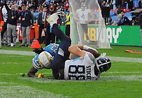 American Football - 2018 NFL Season (NFL International Series, London Games) - Tennessee Titans vs. Los Angeles Chargers<br /> <br /> Luke Stocker of the Titans (88) goes over for a late touchdown to give them hope, at Wembley Stadium.<br /> <br /> COLORSPORT/ANDREW COWIE