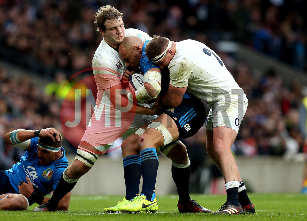 Joe Launchbury of England and Dylan Hartley of England tackle Sergio Parisse of Italy - Mandatory by-line: Robbie Stephenson/JMP - 26/02/2017 - RUGBY - Twickenham Stadium - London, England - England v Italy - RBS 6 Nations round three