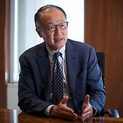 "WASHINGTON, DC - MAY8: President of the World Bank, Jim Yong Kim, M.D., Ph.D., at the World Bank headquarters in Washington, DC, May 8th 2017. Kim's career has revolved around health, education, and delivering services to the poor. Before joining the World Bank Group, Kim, a physician and anthropologist, served as the President of Dartmouth College and held professorships at Harvard Medical School and the Harvard School of Public Health. From 2003 to 2005, he was director of the World Health Organization's HIV/AIDS department. In 1987, Kim co-founded Partners In Health, a non-profit medical organization that now works in poor communities on four continents. Kim has received a MacArthur ""Genius"" Fellowship, was recognized as one of America's ""25 Best Leaders"" by U.S. News & World Report, and was named one of TIME magazine's ""100 Most Influential People in the World""."