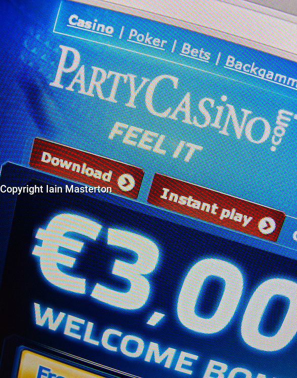 Detail of online casino PartyCasino website homepage screen shot