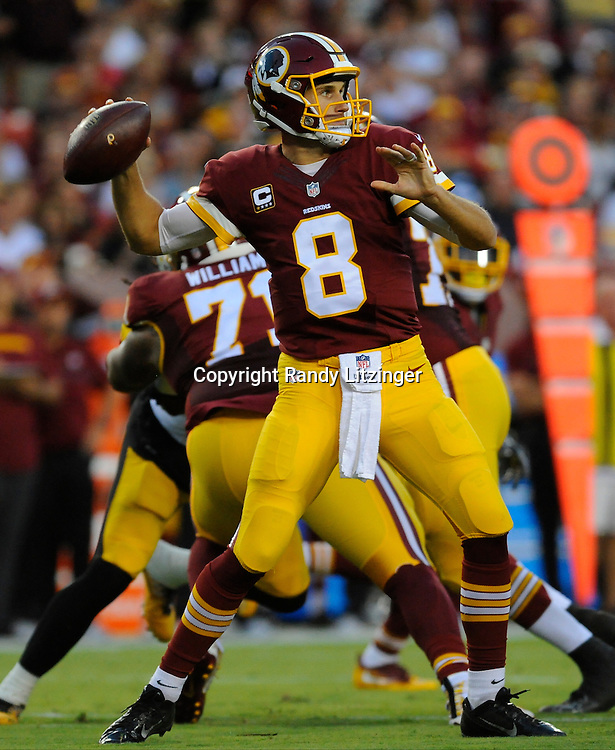 12 September 2016:  Redskins QB Kirk Cousins throws from the pocket. The Pittsburgh Steelers defeated the Washington Redskins 38-16 on Monday Night Football at FedEx Field in Landover, MD. (Photo by Randy Litzinger/Icon Sportswire)