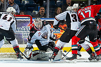KELOWNA, BC - DECEMBER 18: David Tendeck #30 of the Vancouver Giants makes a save against the Kelowna Rockets at Prospera Place on December 18, 2019 in Kelowna, Canada. Tendeck was selected in the 2018 NHL entry draft by the Arizona Coyotes. (Photo by Marissa Baecker/Shoot the Breeze)