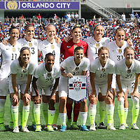 ORLANDO, FL - OCTOBER 25: The USA starters pose for a team photo during a women's international friendly soccer match between Brazil and the United States at the Orlando Citrus Bowl on October 25, 2015 in Orlando, Florida. (Photo by Alex Menendez/Getty Images) *** Local Caption ***
