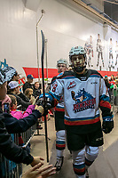 KELOWNA, BC - DECEMBER 27:  Noah Dorey #28 of the Kelowna Rockets heads to the ice for second period against the Kamloops Blazers at Prospera Place on December 27, 2019 in Kelowna, Canada. (Photo by Marissa Baecker/Shoot the Breeze)