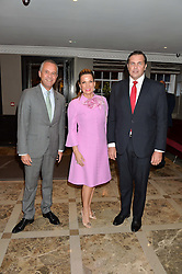 Left to right, HENRIK MUEHLE General Manager Flemings Mayfair, SONIA FALCONE and PRINCE CHARLES PHILIPPE d'ORLEANS at a cocktail party hosted by Mrs Sonia Falcone and Mrs Kimberley Robson Chairman of Le Bal de la Riveria 2016 for the forthcoming Ball held at Flemings Hotel, Half Moon Street, London on 27th September 2016.