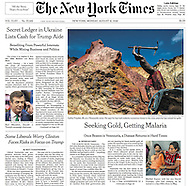 "THE NEW YORK TIMES. ""Seeking Gold, Getting Malaria"" by Nicholas Casey.  A1. August 15, 2015"
