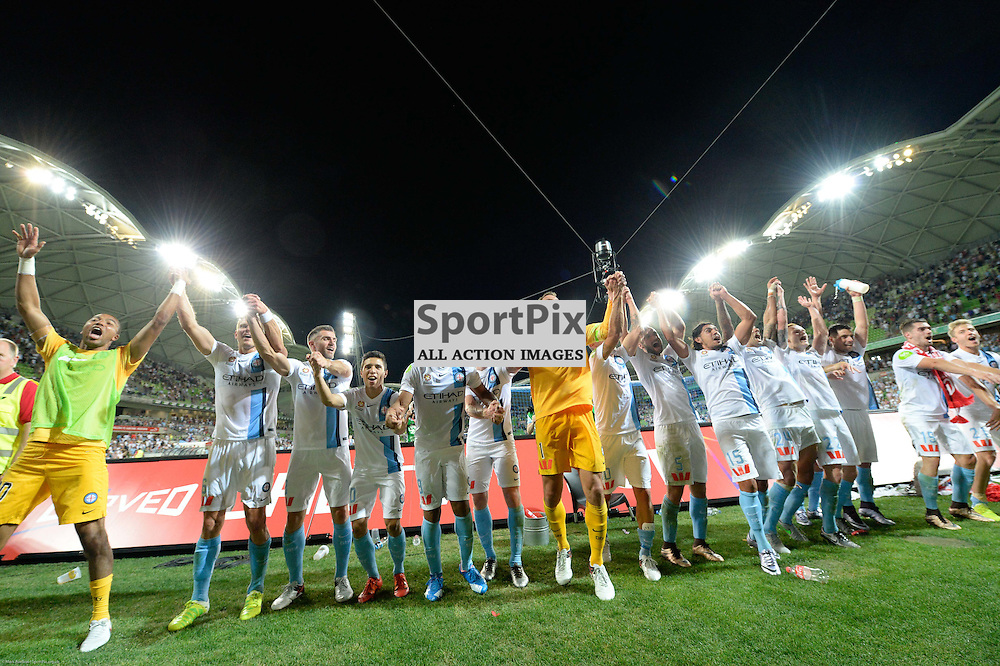 Elated Melbourne City at the end of the Hyundai A-League, 19th December 2015, RD11 match between Melbourne City FC v Melbourne Victory FC at Aami Park in a 2:1 win to City in front of a 23,000+ crowd. Melbourne Australia. © Mark Avellino   SportPix.org.uk