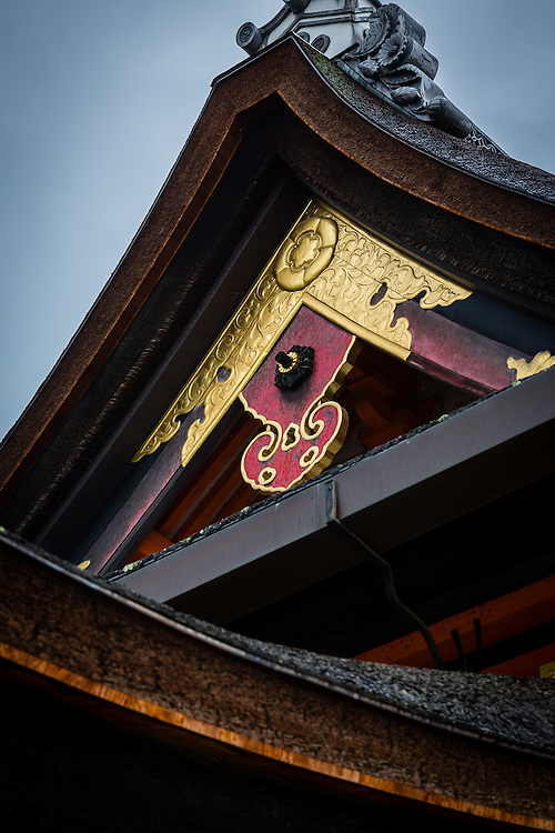 An example of the many detailed roofs of Yasaka Shrine