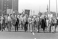 Front of march on the 99th Yorkshire Miners Gala. 1986 Doncaster.