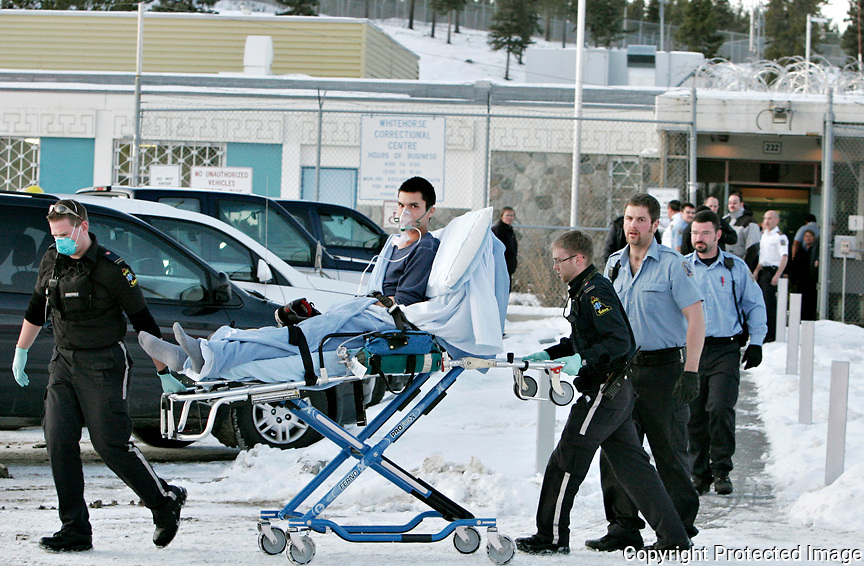 Ian Stewart/Yukon News<br /> Two inmates were taken to hospital and treated for smoke inhalation after a fire at the Whitehorse Correctional Centre on Thursday. Police are investigating the cause of the fire.