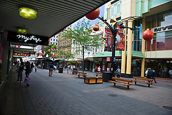 Shops line Russel Street Mall, decorated at Christmas time, Adelaide, South Australia, Australia