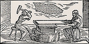 Goldbeaters preparing a thin duplex sheet of silver and gold to be cut into strips and used to cover thread to produce 'spun' gold.  From 'De la pirotechnia' by Vannoccio Biringuccio (Venice, 1540).