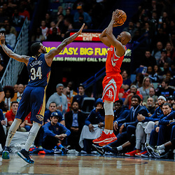 Jan 26, 2018; New Orleans, LA, USA; Houston Rockets guard Chris Paul (3) shoots over New Orleans Pelicans guard DeAndre Liggins (34) during the second half at the Smoothie King Center. Pelicans defeated the Rockets 115-113. Mandatory Credit: Derick E. Hingle-USA TODAY Sports