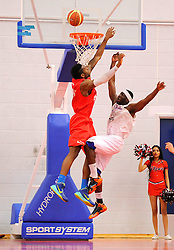 Bristol Flyers' Alif Bland blocks a effort from leeds  - Photo mandatory by-line: Joe Meredith/JMP - Mobile: 07966 386802 - 18/04/2015 - SPORT - Basketball - Bristol - SGS Wise Campus - Bristol Flyers v Leeds Force - British Basketball League
