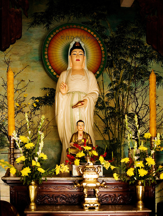 Statue of the Goddess of Mercy (Quan Yin)  in a Central Vietnam Buddhist pagoda.  The statue of the goddes is dressed in white, with a halo, and has definite echoes of the Virgin Mary in Catholic practice..