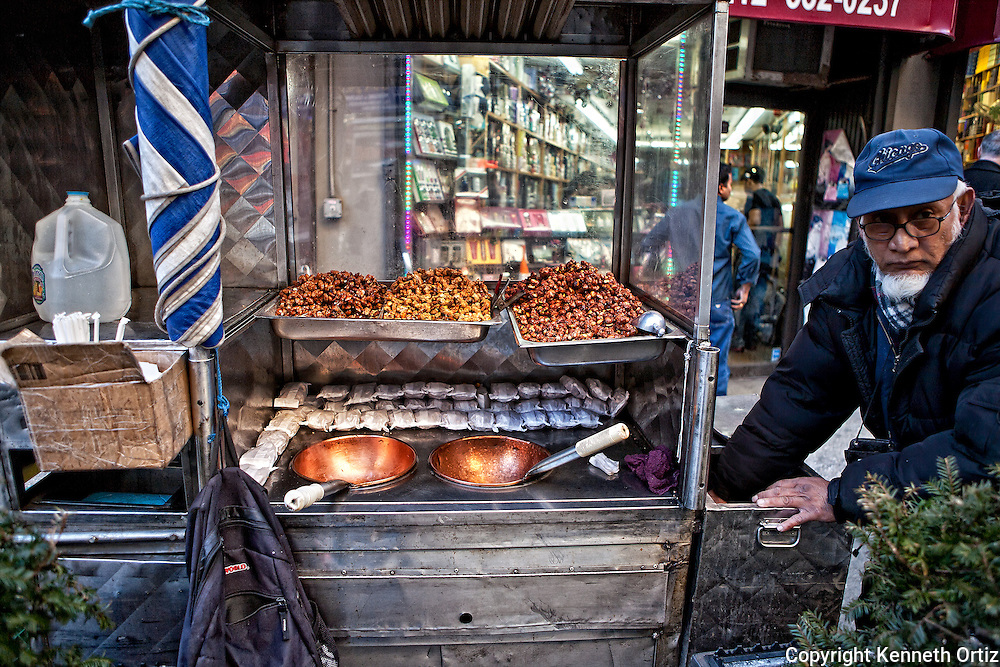 Nut vendor on Broadway, downtown Manhattan.