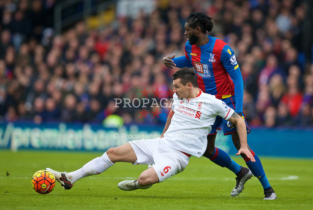 LONDON, ENGLAND - Sunday, March 6, 2016: Liverpool's Dejan Lovren in action against Crystal Palace's Emmanuel Adebayor during the Premier League match at Selhurst Park. (Pic by David Rawcliffe/Propaganda)