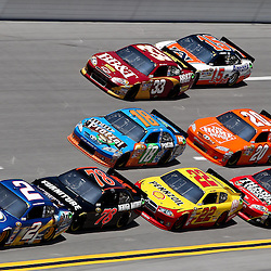 April 17, 2011; Talladega, AL, USA; NASCAR Sprint Cup Series driver Brad Keselowski (2) leads a pack during the Aarons 499 at Talladega Superspeedway.   Mandatory Credit: Derick E. Hingle
