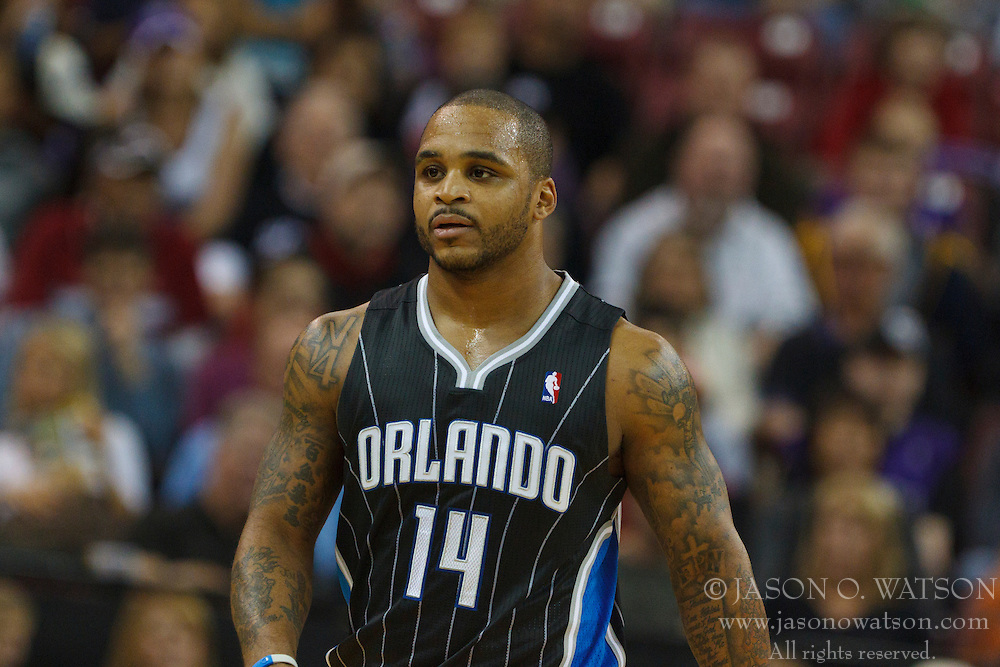 Jan 8, 2012; Sacramento, CA, USA; Orlando Magic point guard Jameer Nelson (14) during a stoppage in play against the Sacramento Kings during the first quarter at Power Balance Pavilion. Orlando defeated Sacramento 104-97. Mandatory Credit: Jason O. Watson-US PRESSWIRE