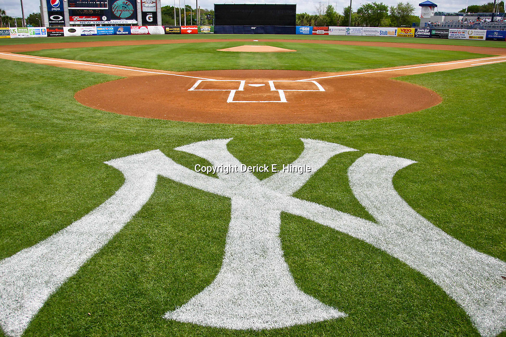 March 11, 2012; Tampa Bay, FL, USA; A detail of a New York Yankees painted logo on the field for a spring training game between the New York Yankees and the Philadelphia Phillies at George M. Steinbrenner Field. Mandatory Credit: Derick E. Hingle-US PRESSWIRE
