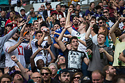 NFL fans catch free t-shirts during the International Series match between Baltimore Ravens and Jacksonville Jaguars at Wembley Stadium, London, England on 24 September 2017. Photo by Jason Brown.