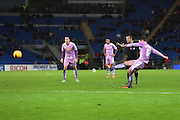 Reading midfielder Oliver Norwood takes a free kick just outside the area during the Sky Bet Championship match between Cardiff City and Reading at the Cardiff City Stadium, Cardiff, Wales on 7 November 2015. Photo by Jemma Phillips.