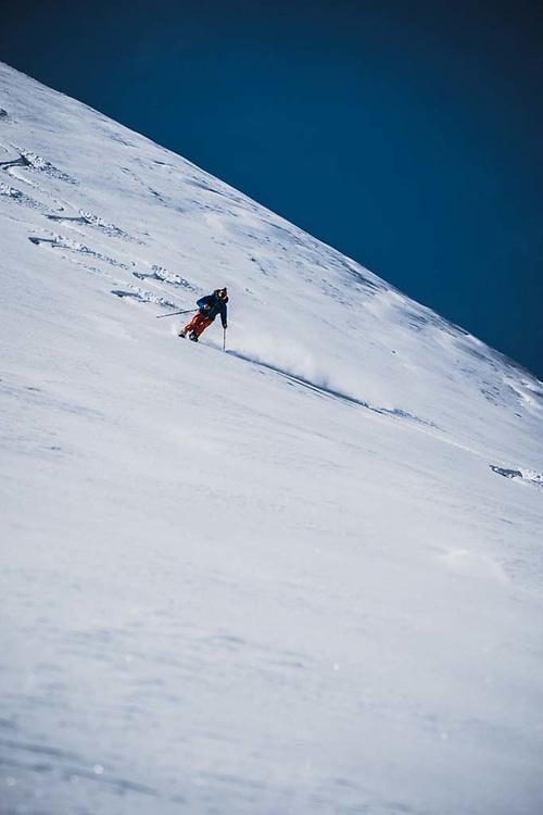 Joe Morabito descends from Loft Peak, howson Range, British Columbia.