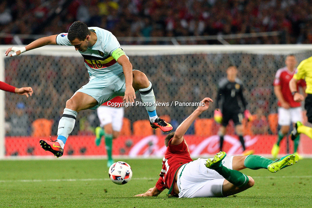 TOULOUSE, FRANCE - JUNE 26 : Eden Hazard midfielder of Belgium battles for the ball with Richard Guzmics defender of Hungary