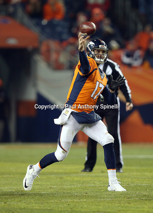 Denver Broncos quarterback Brock Osweiler (17) throws a pass during the 2015 NFL week 16 regular season football game against the Cincinnati Bengals on Monday, Dec. 28, 2015 in Denver. The Broncos won the game in overtime 20-17. (©Paul Anthony Spinelli)