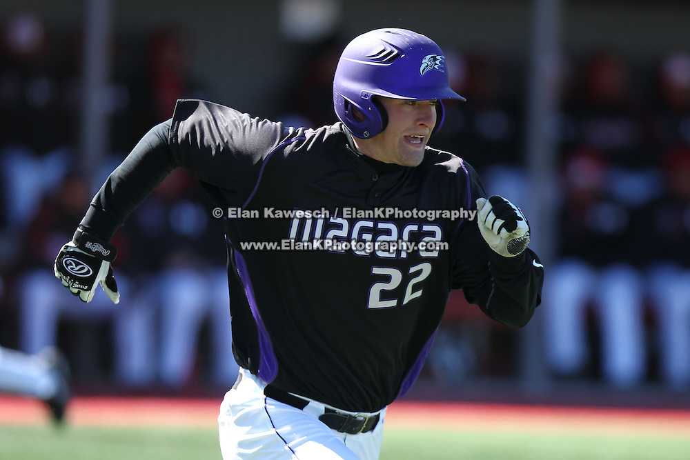 Joel Klock #22 of the Niagara Purple Eagles runs down the first base line during the game at Friedman Diamond on March 16, 2014 in Brookline, Massachusetts. (Photo by Elan Kawesch)