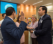 José Leal was sworn in as District III trustee in a brief ceremony at Hattie Mae White.