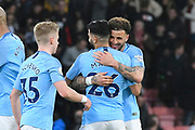 Goalscorer Riyad Mahrez (26) of Manchester City is hugged by Kyle Walker (2) of Manchester City at full time after a 1-0 win over Bouremouth during the Premier League match between Bournemouth and Manchester City at the Vitality Stadium, Bournemouth, England on 2 March 2019.