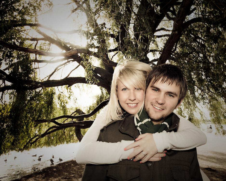 Rosanna & Matt Pre Wedding Photographs at Attenborough Nature Reserve under the Willow Tree